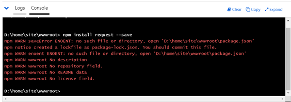 npm install request –save