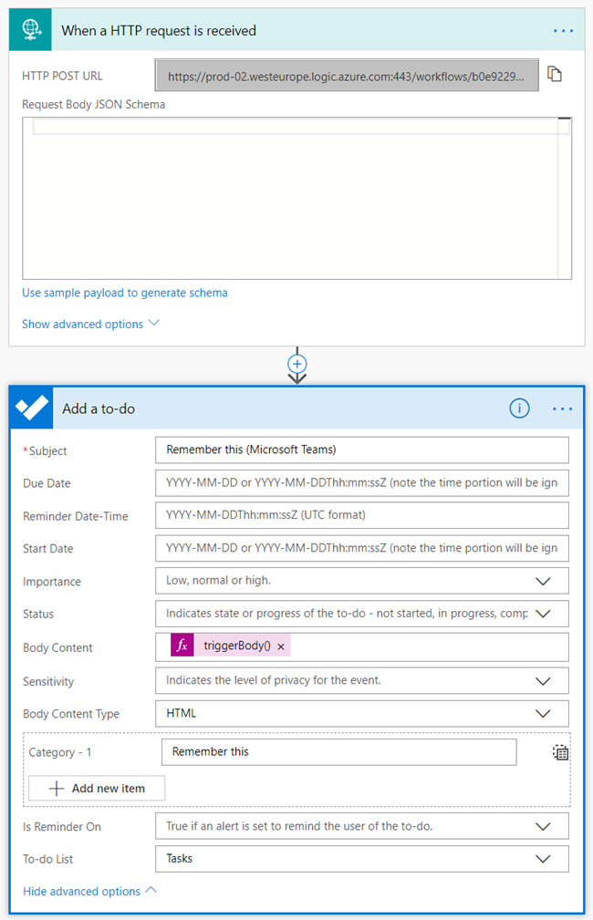 The Microsoft Flow for the bot