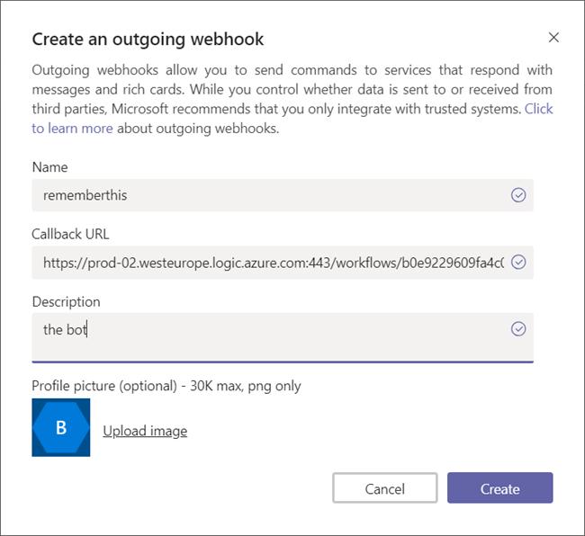 Creating an outgoing webhook