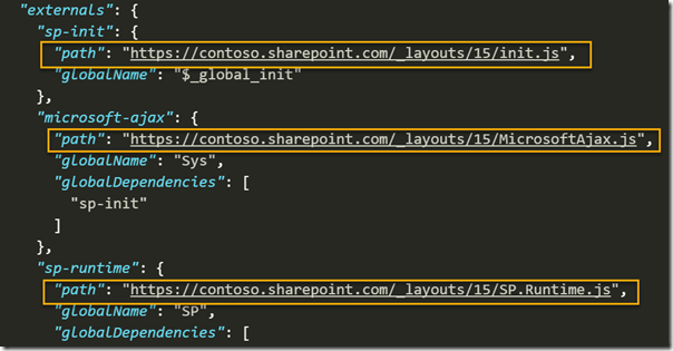 externals in config.json