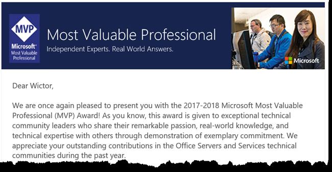 MVP Award e-mail