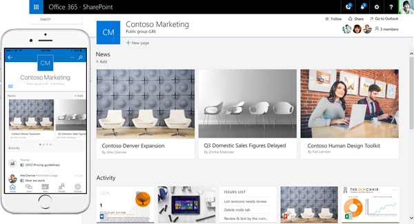 SharePoint team site and mobile app