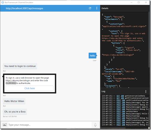 Testing the bot with the Bot Framework emulator