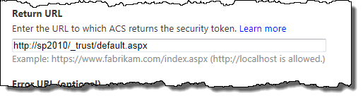 Only one Return URL