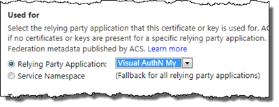 Add the SAME certificate for the new RP