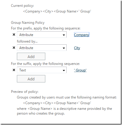 A sample Group Naming Policy