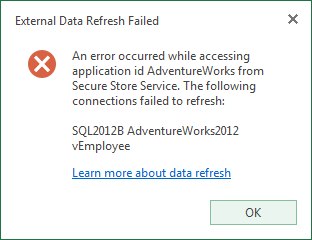 An error occurred while accessing application id XXX from Secure Store Service.