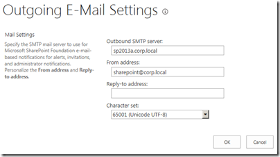 Configure outgoing E-mail Settings