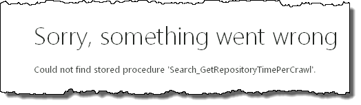 Could not find stored procedure Search_GetRepositoryTimerPerCrawl