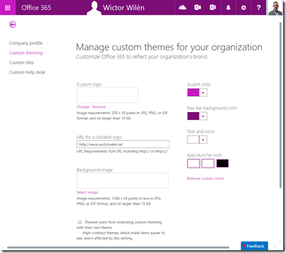Office 365 Custom Theming