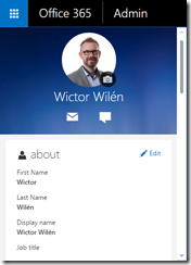 New Office 365 Profile Page