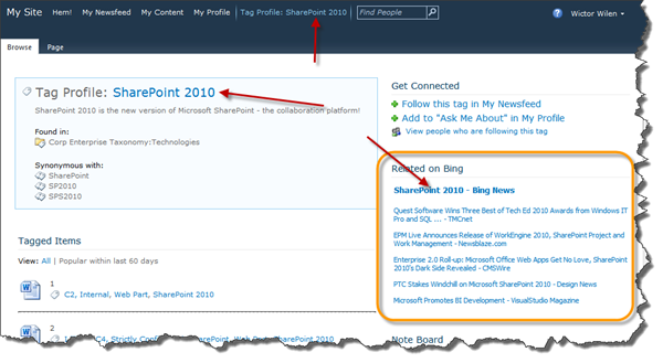 Tag Profile connected to Bing News