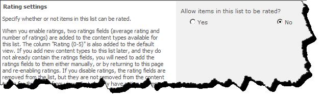 Rating Settings
