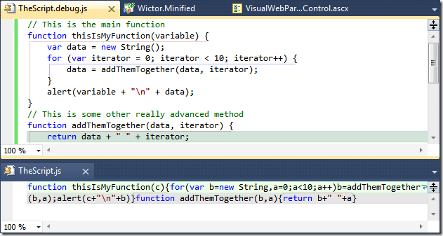 Visual Studio 2010 comparing JavaScript files