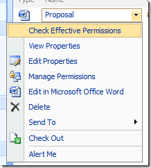 Check Effective Permissions on a document