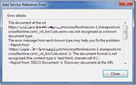 Add Service Reference Error