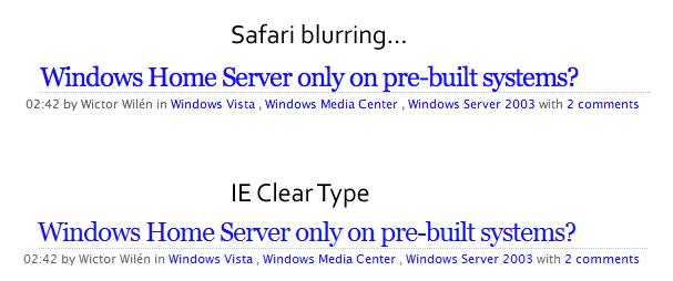 Safari blurring vs IE Clear Type