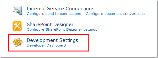 Developer Dashboard configuration in Central Administration