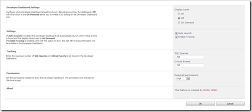 Configuration of the Developer Dashboard