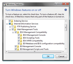 IIS 6 Management Compatibility features enabled