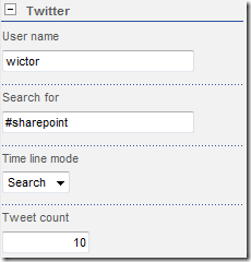 Shared tool pane view of TweetPart