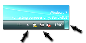 Windows 7 M3 Notification Area