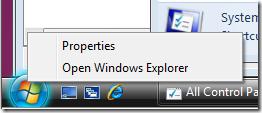 Right-click on Windows 7 Start menu