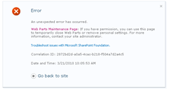 SharePoint 2010 error message